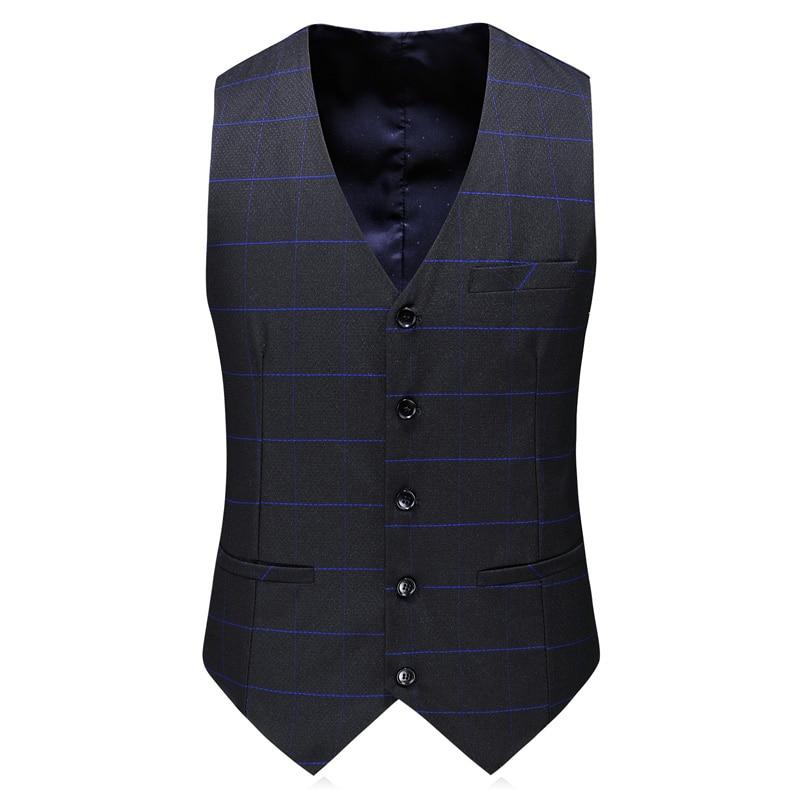 Rayure Style Gilet Hommes Mariage D'affaires Nouveau 2018 Costumes Bleue De veste Mode Complète Robe Classique Pantalon Noir Costume HnIBzwqxq