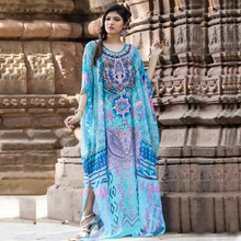 Women Kaftan Tunic Kimono Free Size Maxi Party Loungewear Holidays Dresses