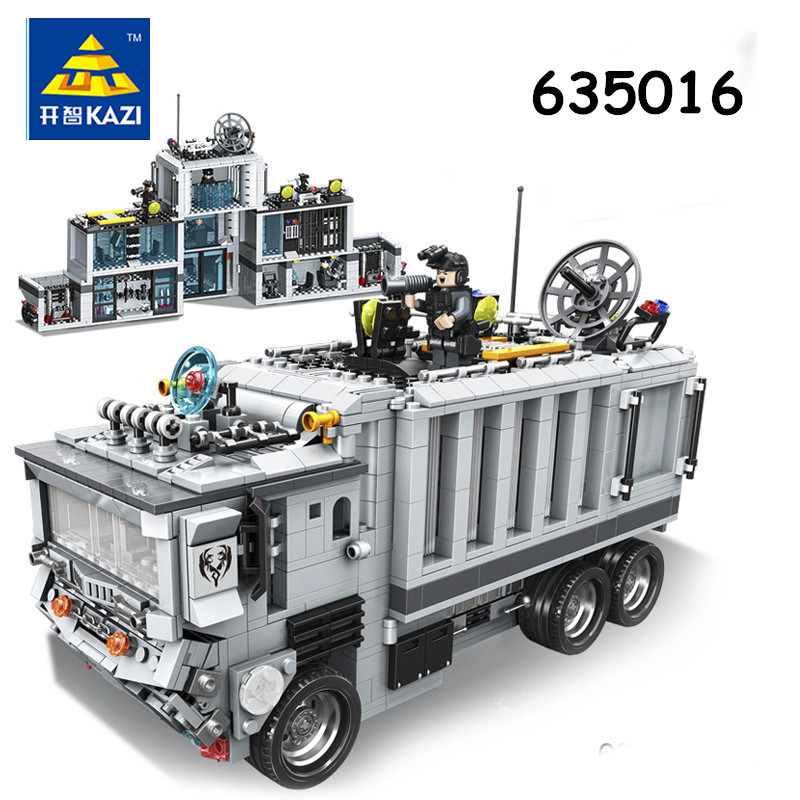 KAZI Military SWAT Mobile Command Vehicles Police Set Building Bricks Blocks DIY Educational Assembled Christmas Childens Toys military swat team city police armed
