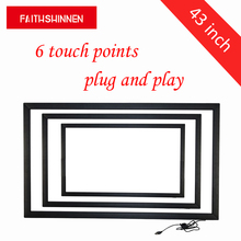 43 inch 6 points touch screen overlay kit ir multi touch IR multi touch screen frame panel without glass