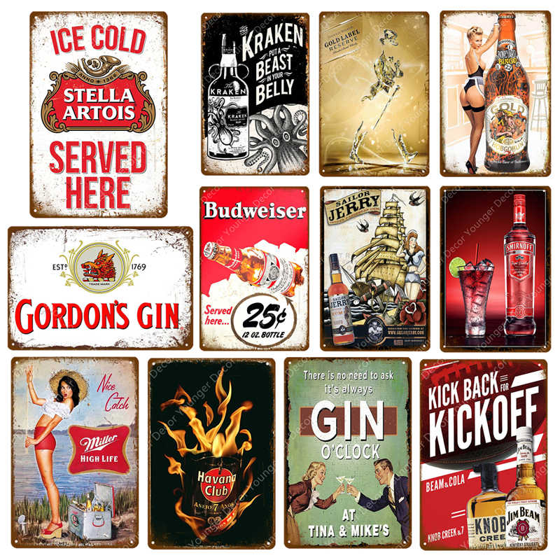 Ice Cold Stella Artois Miller Smirnoff Vintage Metal Signs Budweiser Plaque Bar Pub Decorative Plate Beer Advertising Wall Decor