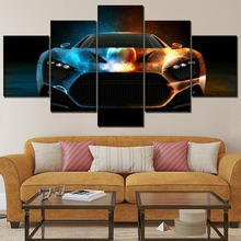 5 Piece Vehicles Artistic Space Car Canvas Painting Wall Art Decor Framework Modern HD Printing Type Pictures For Living Room