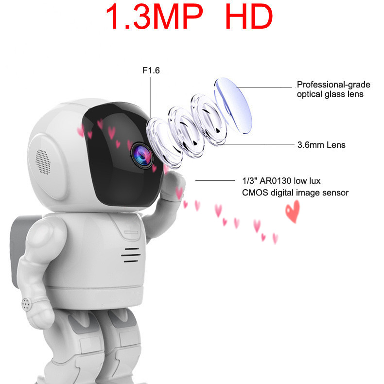 Home security mobile watch phones indoor HD 960p robot p2p Wifi wireless IP camera with small