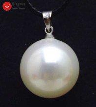 Qingmos белый круглый кулон и ожерелье для женщин ювелирные