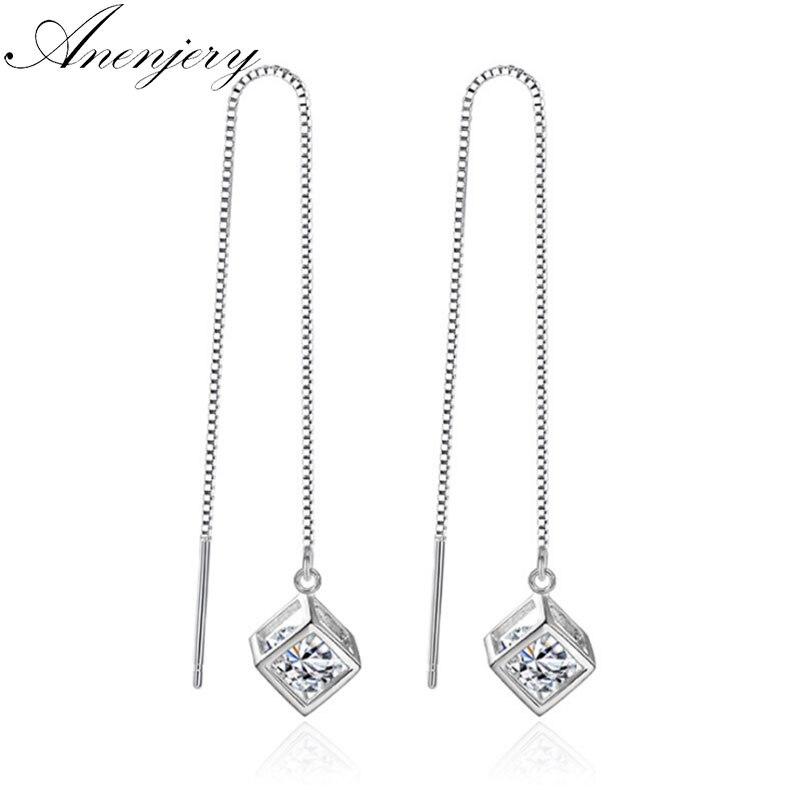925 Silver Tassel Boucles d/'oreilles AAA Zircon Box Ear Drop Charme Femmes Fashion Jewelry