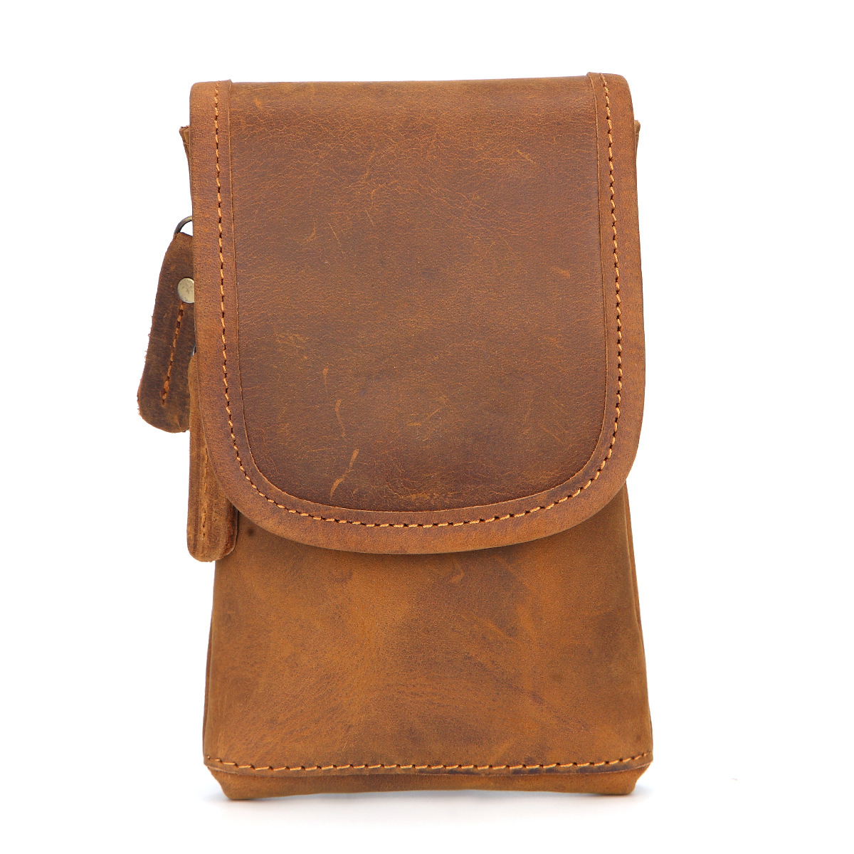 Men Crazy Horse Cowhide Fanny Waist Pack Bag High Quality Belt Cigarette Pouch Purse Genuine Leather Mobile Phone Case Hook Bags