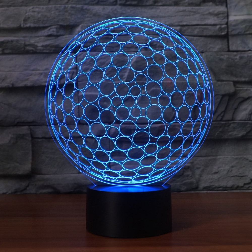 3D Led Sleep Usb 7 Colorful Gradient Acrylic Night Lights Touch Switch Lighting Golf Enthusiast Gifts Golf Ball Shape Table Lamp