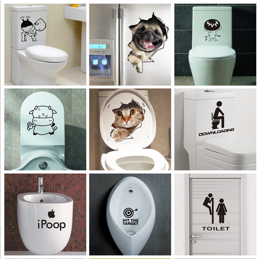 New 3D DIY Creative funny Bathroom Toilet stickers WC Waterproof Removable wall stickers Home Decoration paper cute Wall Decals