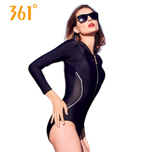 361 Women Sexy One Piece Swimsuit Ladies Black Triangle Professional Sports Long Sleeve Swimwear Gril Bathing Suit