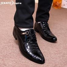 New Men Leather Shoes Pointed Toes Lace-up Formal Patent italian shoes men zapatos de hombre vestir formal