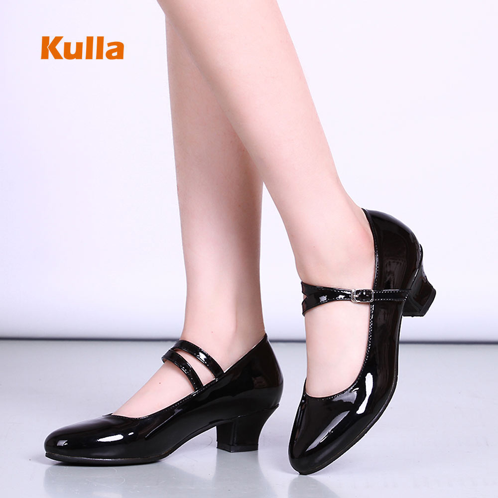 New Modern Latin Dance Shoes For Women Girl Mirror Leather Tango Salsa Dancing Shoes Ballroom Party Shoes Heel 3.5cm Rubber Sole