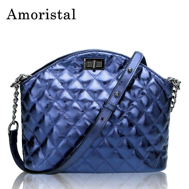 Ladies Shoulder Bag Handbags 2018 Fashion Genuine Leather Shell Bag For Women Diamond Lattice Messenger Bags Crossbody Bags B322 все цены