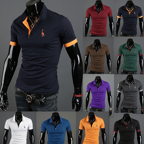 Men's Polo Multi-Color Deer High Quality Cotton Polo Shirt Men's Short Sleeve Slim Business Casual Solid Fit Tops 8