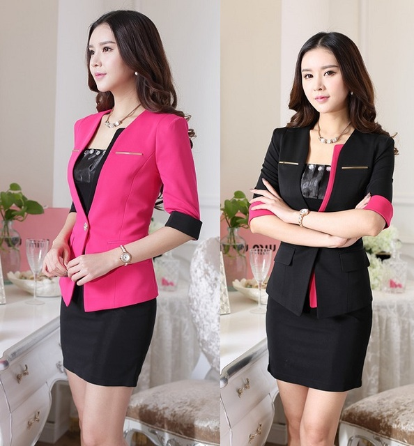 4471634b0c2d Formal Uniform Design Spring Summer Business Women Suits Office Work Wear  Skirt Suits With Blazer And