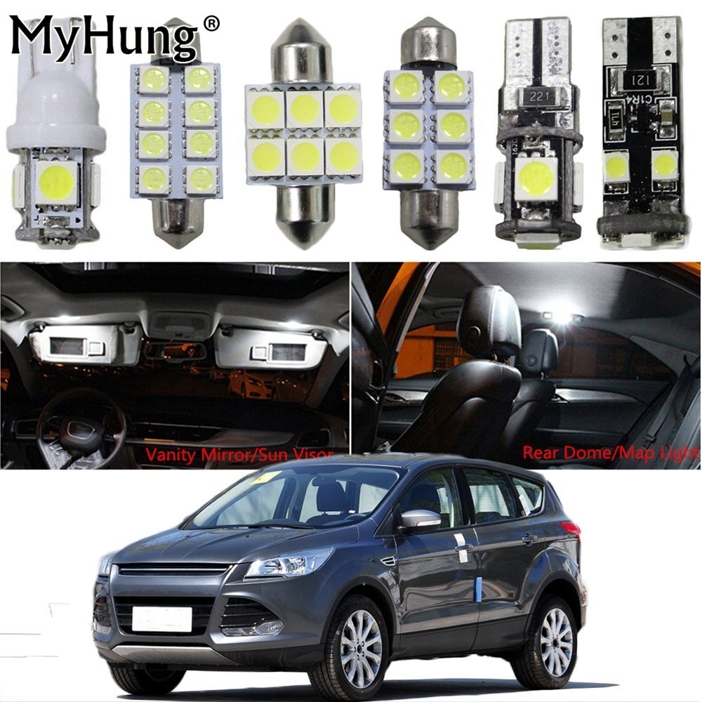 Interior led light for ford ecosport 2013escape fiesta sunroof focus car replacement bulb dome map lamp light bright white 6pcs