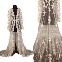 wejanedres Custom Plus Size Lace Bridal Wedding Jackets Bolero Cape Wraps Shrug Long Sleeve Illusion Bodice Boho Wedding Jackets