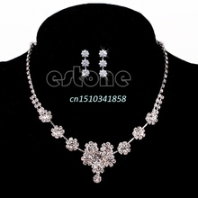 New Stunning Wedding Bridal Flower Crystal Rhinestone Necklace Earrings Jewelry Sets #Y51#