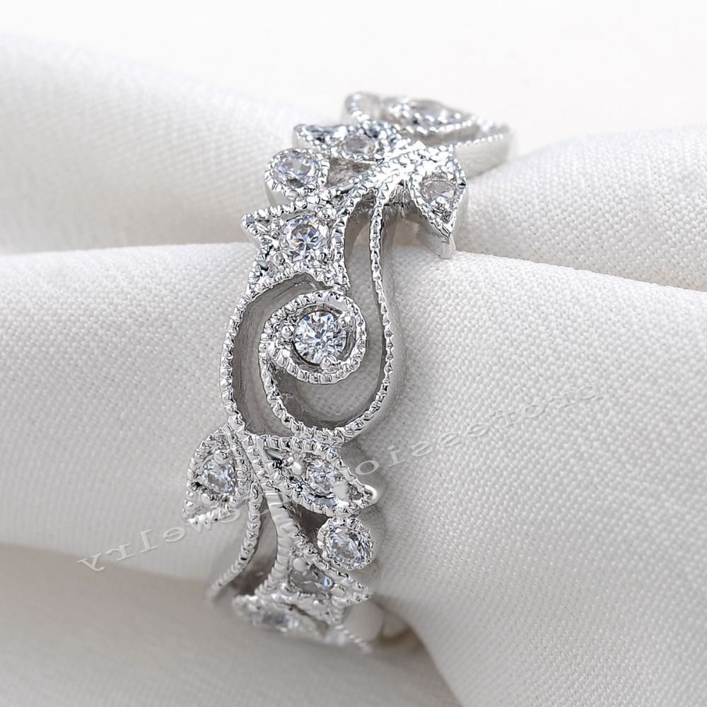 Victoria Wieck Antique Jewelry Flower Desgin 925 Sterling Silver Simulated Diamond  Wedding Engagement Rings For Love