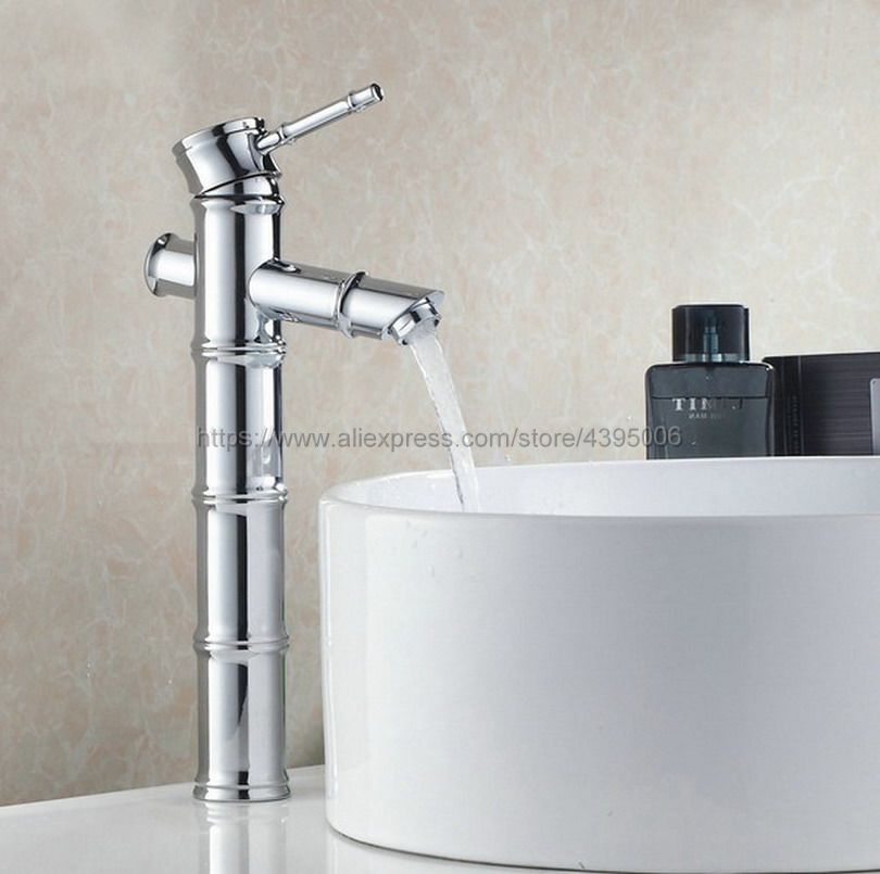 Chrome Finish Bamboo Bathroom Basin Faucet Vessel Sink Water Tap bath sink cold and hot Mixer