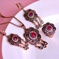 Estilo clássico turca do Vintage jóias conjuntos de colar e brincos e anel flores escultura 3 cores resina cristal Anti ouro borlas