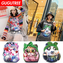 GUGUTREE embroidery big cats panda tiger patches animal badges applique for clothing XC-50