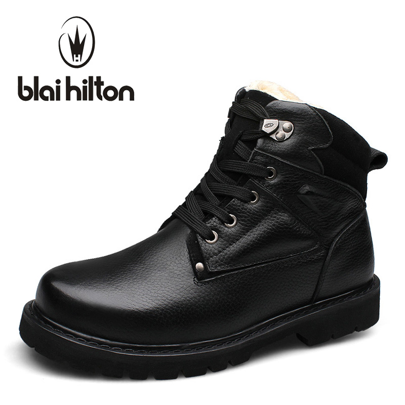 Blaibilton 100% Genuine Leather Winter Warm Faux Fur Velvet Snow Boots Men Shoes Cow Military Motocycle Ankle Boot Male SD003 proxi rfid card reader without keypad wg26 access control rfid reader rf em door access card reader