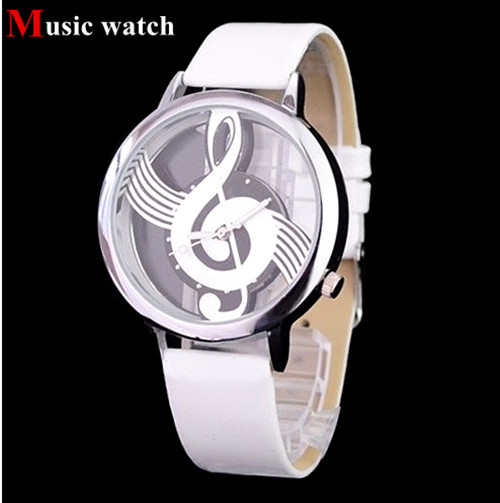 Hot Selling Clock Music Shape Watch Round Dial Elegant White Leather Casual Women Fashion Wristwatch Free Shipping Drop Shipping