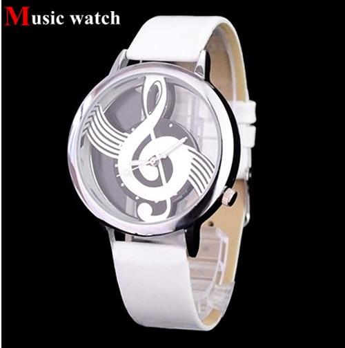 Hot selling clock Music Shape Watch Round Dial Elegant White Leather Casual Women Fashion Wristwatch Free Shipping Drop Shipping