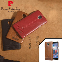 Pierre Cardin Genuine Leather Hard Back Cover For One Plus 3 Case Oneplus 3 Case Fashion