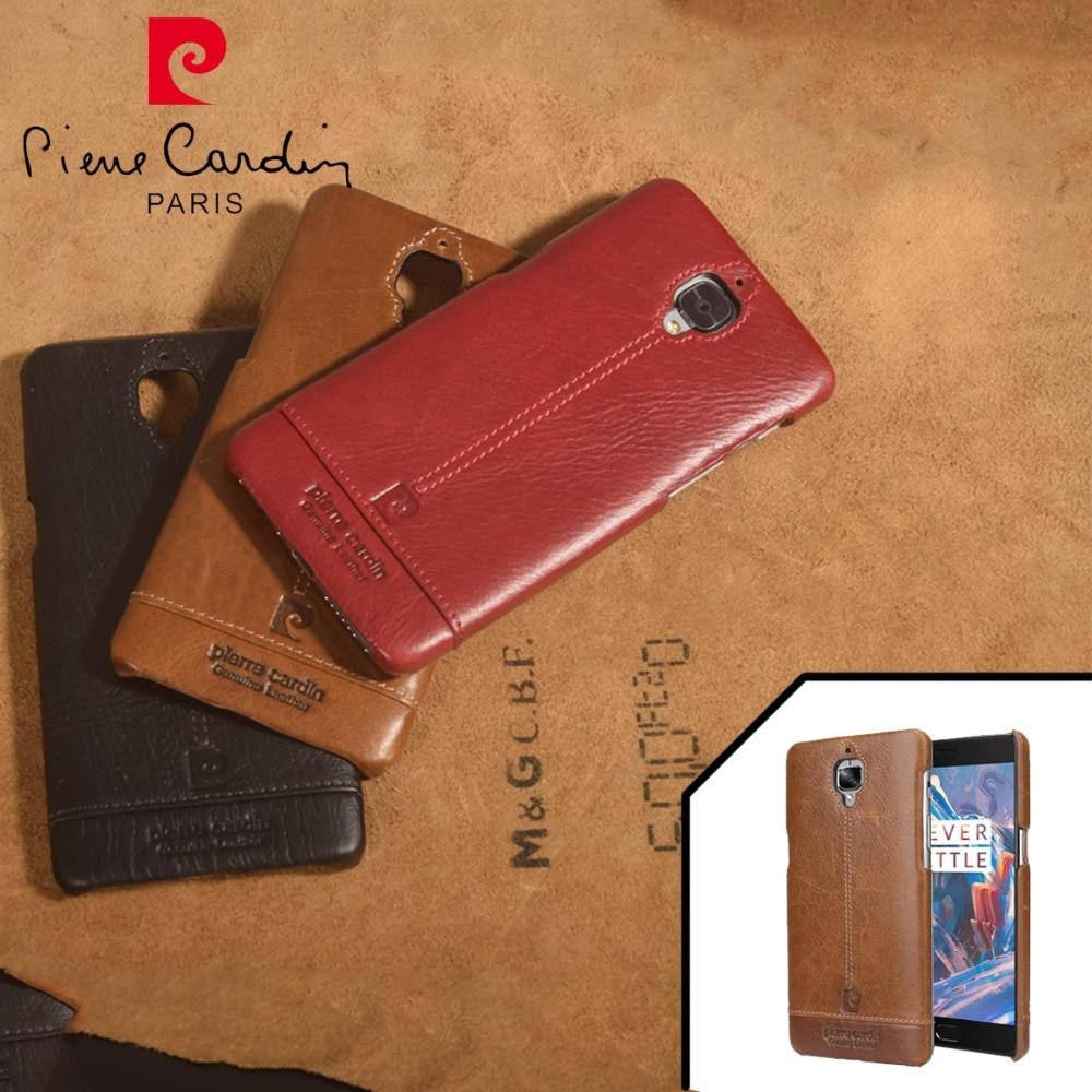 imágenes para Pierre Cardin Genuino de Cuero Duro de La Contraportada Para Uno Más 3/3 T caso Oneplus 3 Caso Moda Ultra Thin Slim Case Envío gratis