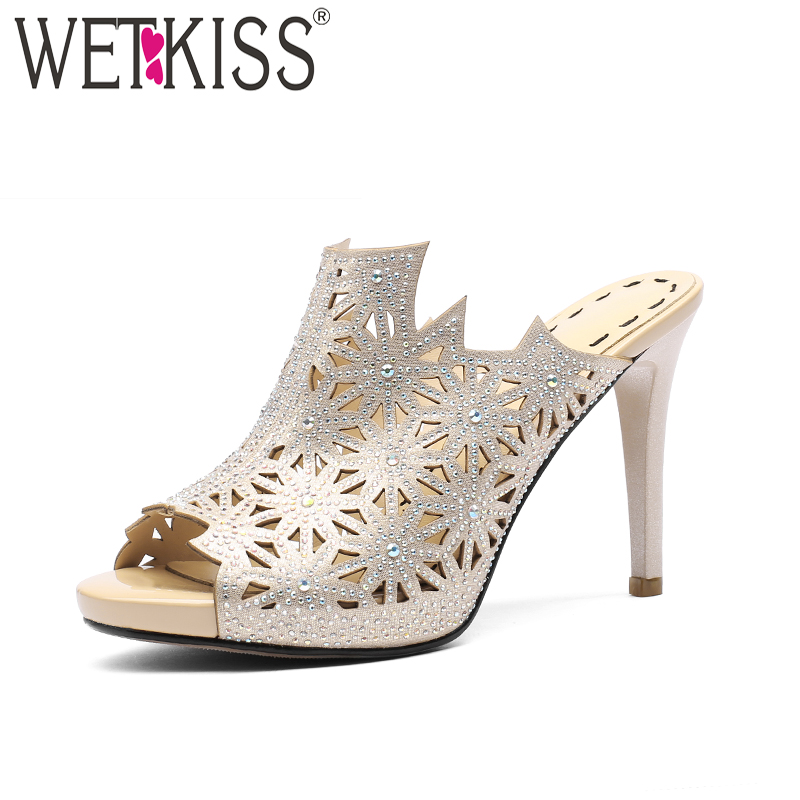 WETKISS Summer Thin High Heels Women Slippers 2018 Fashion Sexy Ladies Mules Shoes Peep Toe Slides Crystal Footwear Big Size 40 kemekiss women slippers clip toe flat heel crystal shine women summer shoes fashion korean holidays footwear size 36 40