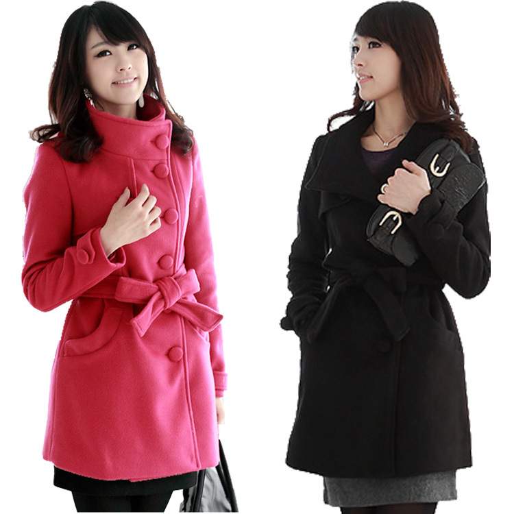 New Women's Lady's Double Breasted Woolen Wool Slim Fitted Winter ...