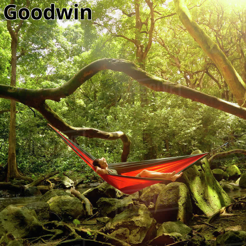 Double Person Hammock Parachute Portable Outdoor Camping Indoor Home Garden Sleeping Hammock Bed 300kg Max Loading Free Shipping