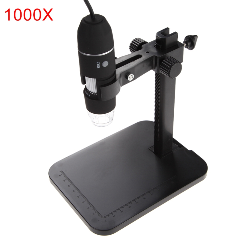 USB Digital Microscope Endoscope 800X 1000X 8 LED 2MP Microscopio Magnifier Zoom Camera+Lift Stand+Calibration Ruler Tools