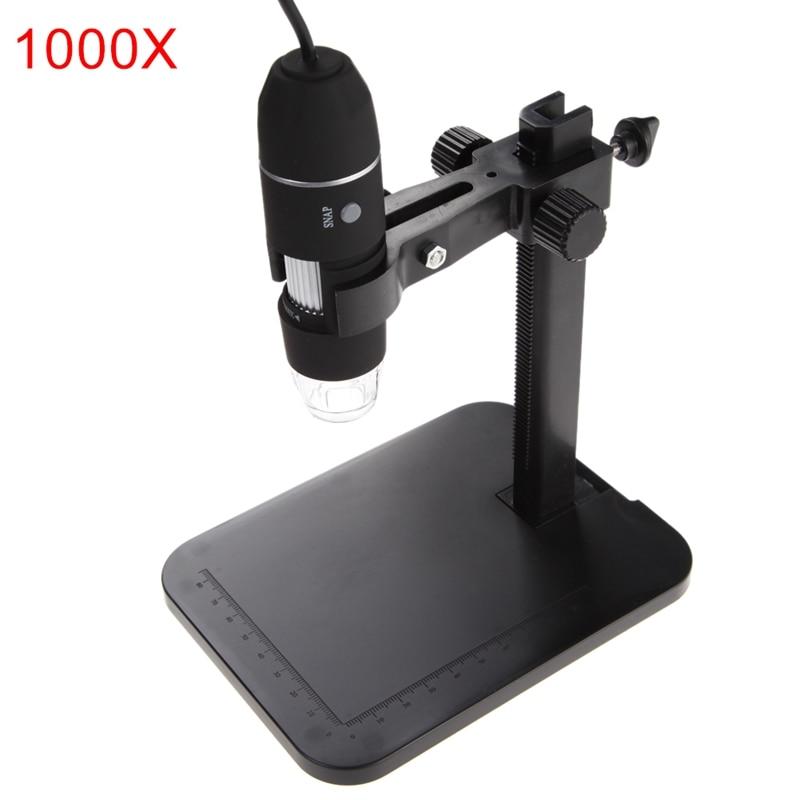 USB Microscopio Digitale Endoscopio 800X1000X8 LED 2MP Microscopio Lente di Ingrandimento Dello Zoom Della Macchina Fotografica + Supporto di Sollevamento + Calibrazione righello Strumenti