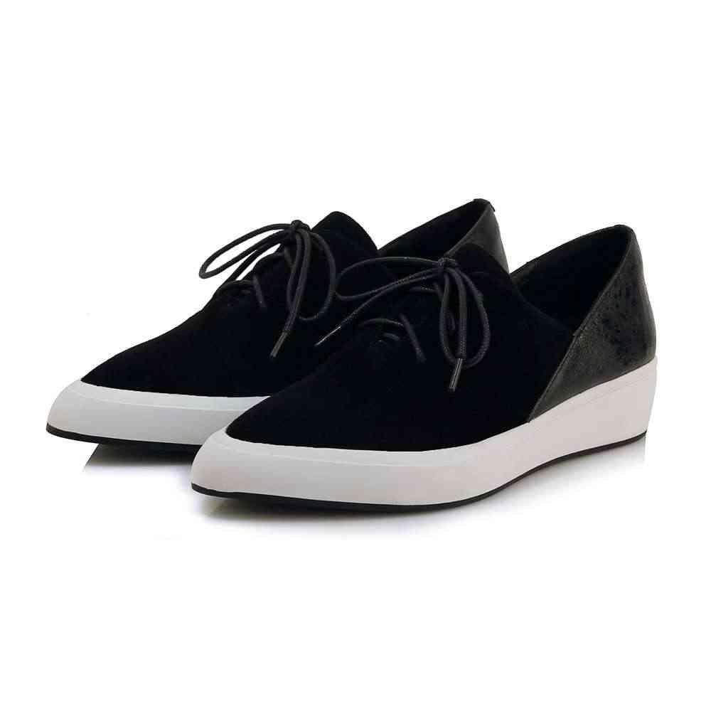 2019 hakiki deri özlü kadın ayakkabı sivri burun lace up med alt platformu loafer'lar karışık renkler vulkanize ayakkabı L63