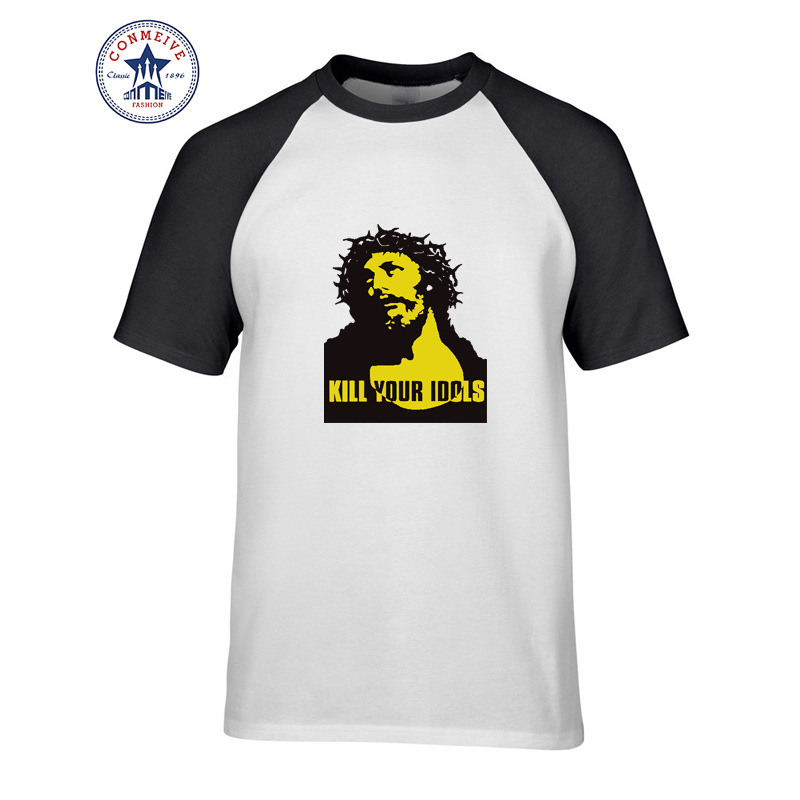 2017 Hot sale Mix Color Fashion Casual Guns N Roses KILL YOUR IDOLS Jesus funny t shirt for men short sleeve