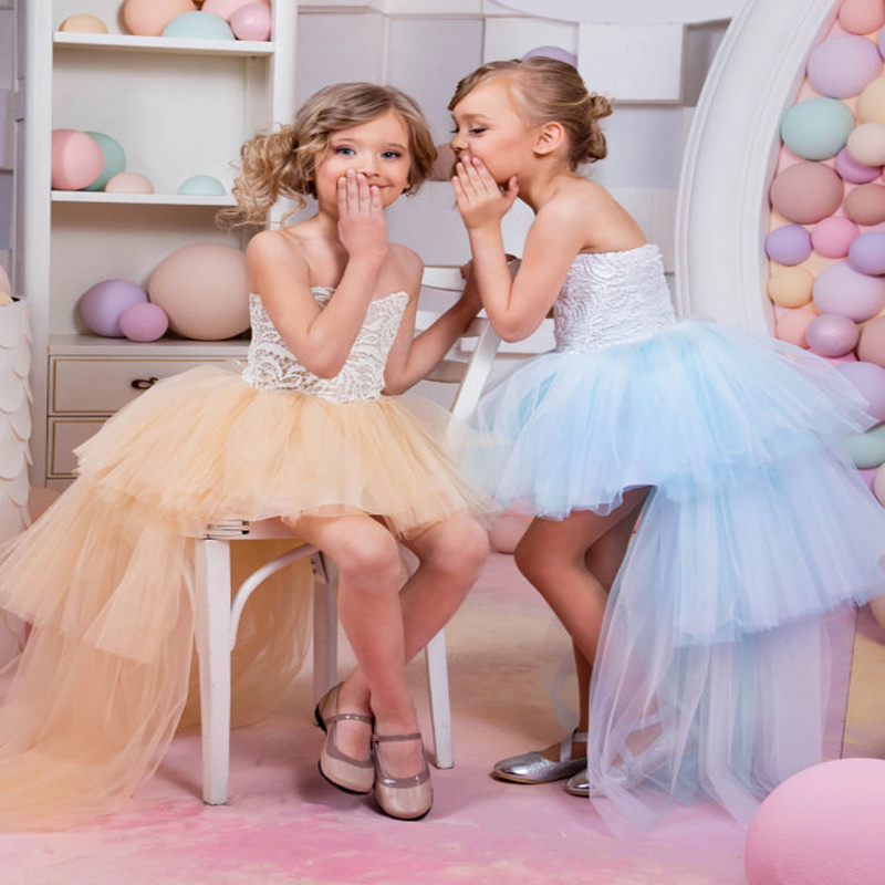 Sleeveless Flower Girl Dresses For Wedding Tulle Evening Dressses Lace UP First Communion Dresses A-Line Mother Daughter Dresses