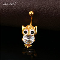 Crystal Cute Owl Shape Belly Button Ring Women 18K Gold Platinum Plated Belly Piercing Navel Ring