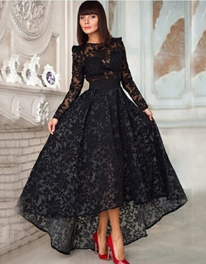 Black Lace Prom Dress Long Sleeves