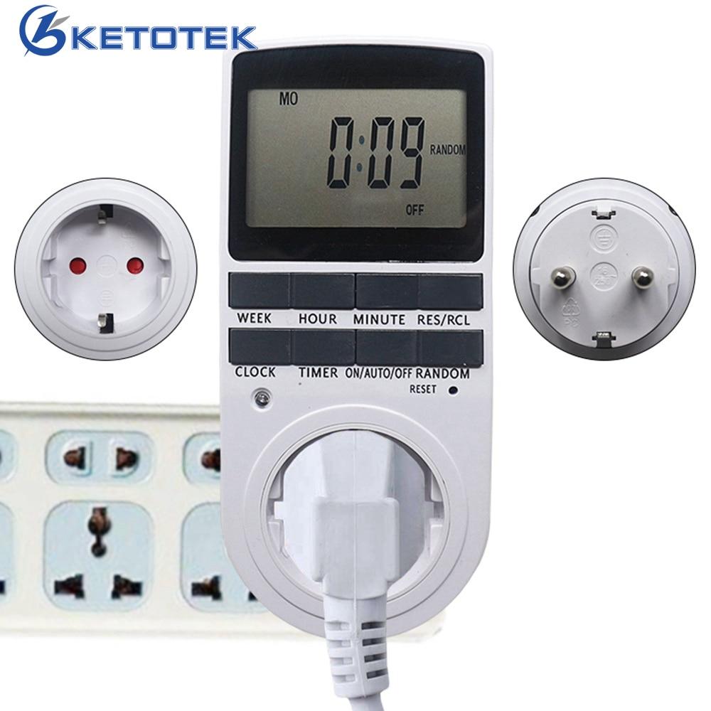 Programmer Timer Socket Timer Switch EU Fr Plug Electronic Timer Outlet Digital Kitchen Plug Sockets 230V 50HZ 7 Day 12/24 Hour