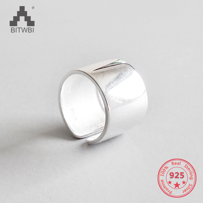 100% S925 Sterling Silver fashion personality minimalist wide glossy open ring100% S925 Sterling Silver fashion personality minimalist wide glossy open ring