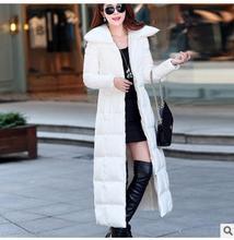 Черный/Белый X-Long Женщин Белая Утка Вниз Куртки Мода Осень Зима Хлопка Мягкой Пальто Парки Повседневная Одежда J1661-12