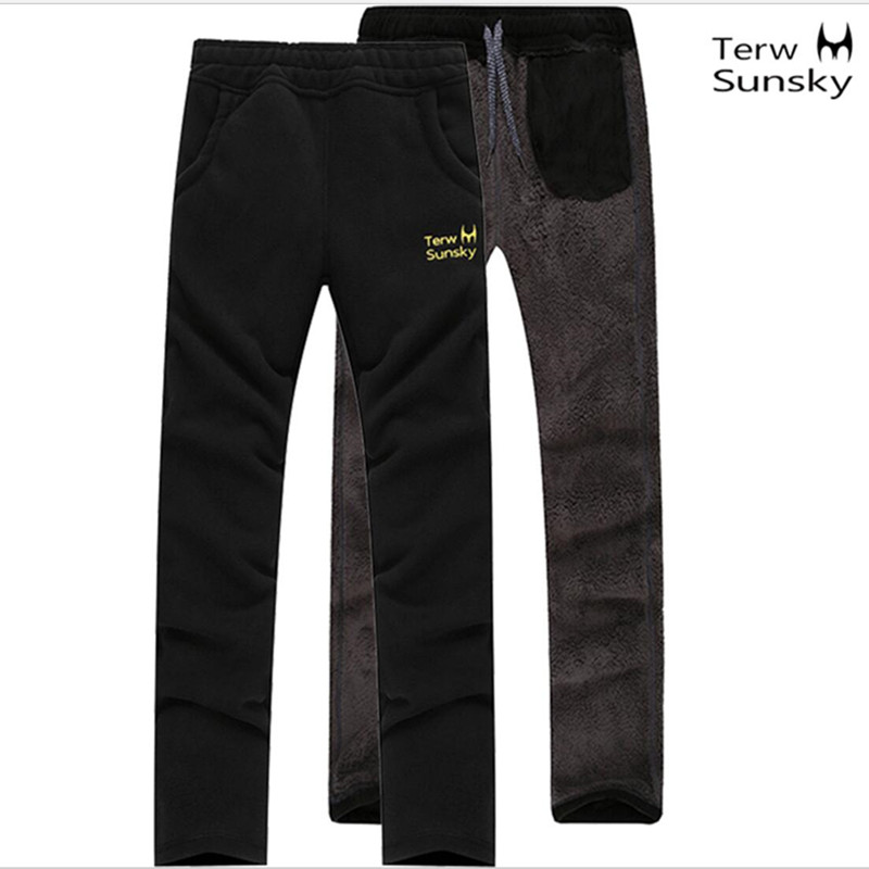 Free Shipping-HOT SALE Outdoor Men Thickening Fleece Pants SportsThickening Wool Double Composite Warm Pants TK031