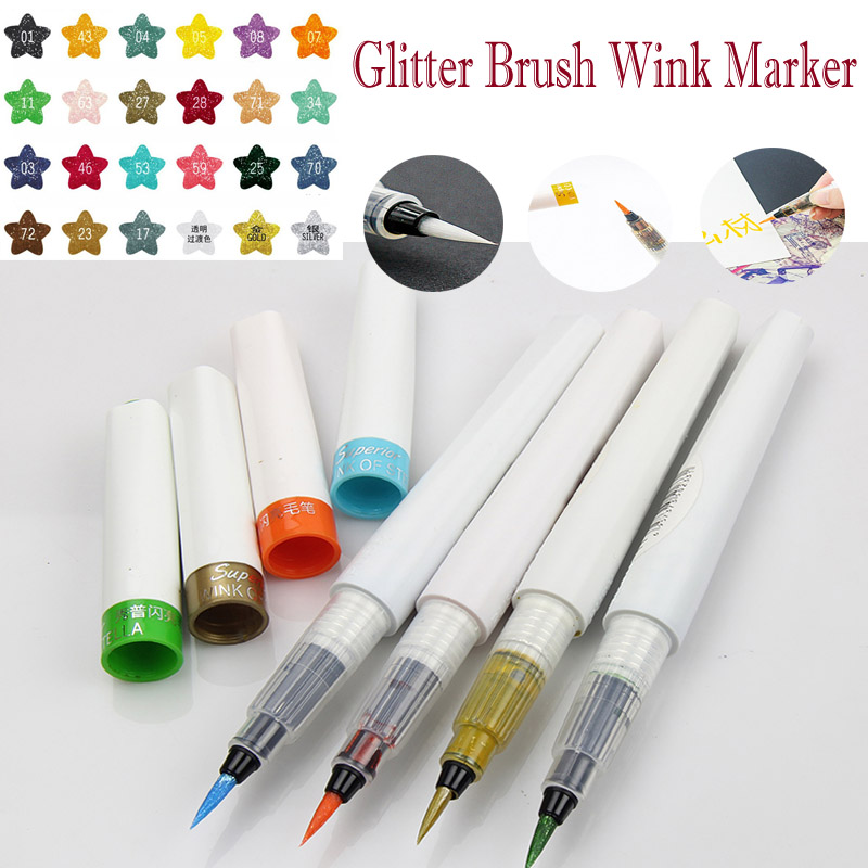 Superior Glitter Calligraphy Brush Pen Soft Color Wink Markers metallic gold sliver fine tip Marker Adult Coloring liquid Pens alabasta cute blinking wink glitter eyes