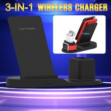 Newest 3 in1 10W Qi wireless charge Vertical Desktop for X XR MAX 8 8X Plus 7 7Plus  Fast Charger Apple Watch 4 2 1