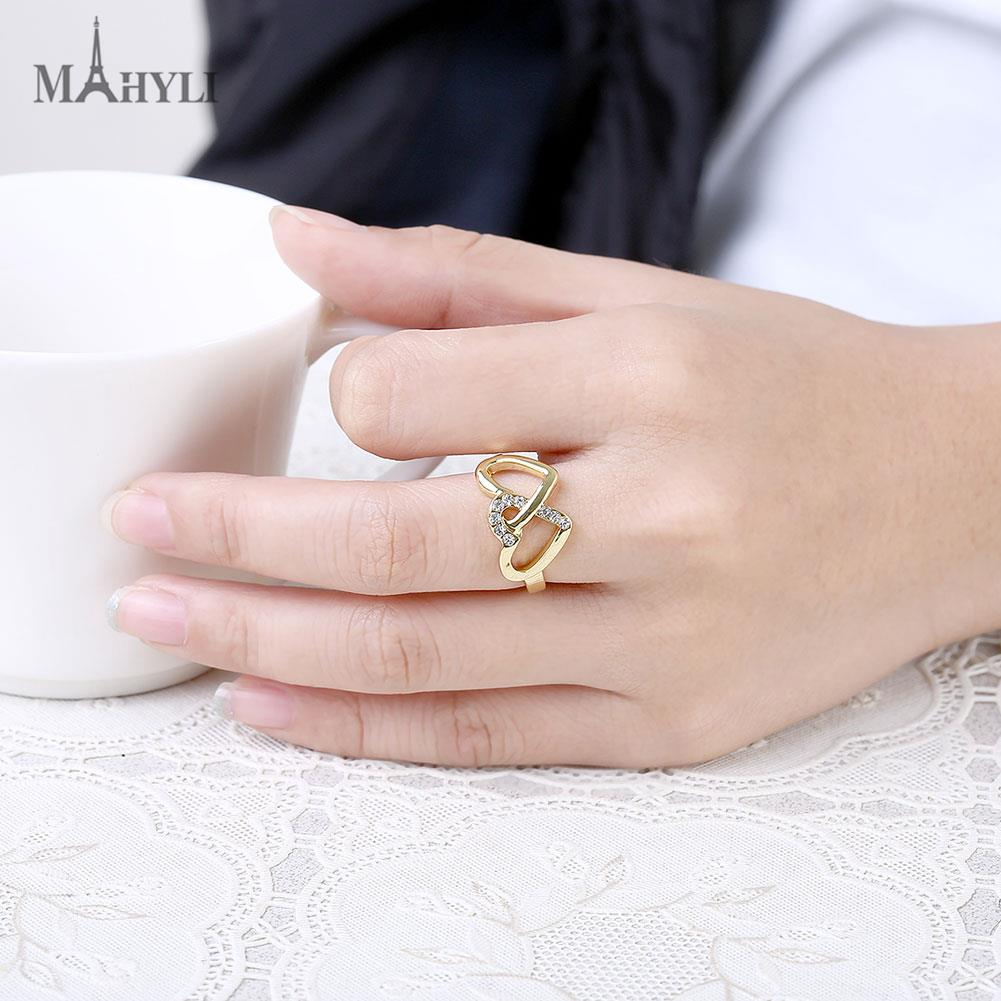 MAHYLI Promotion 18K gold plated ring double heart wedding rings for ...