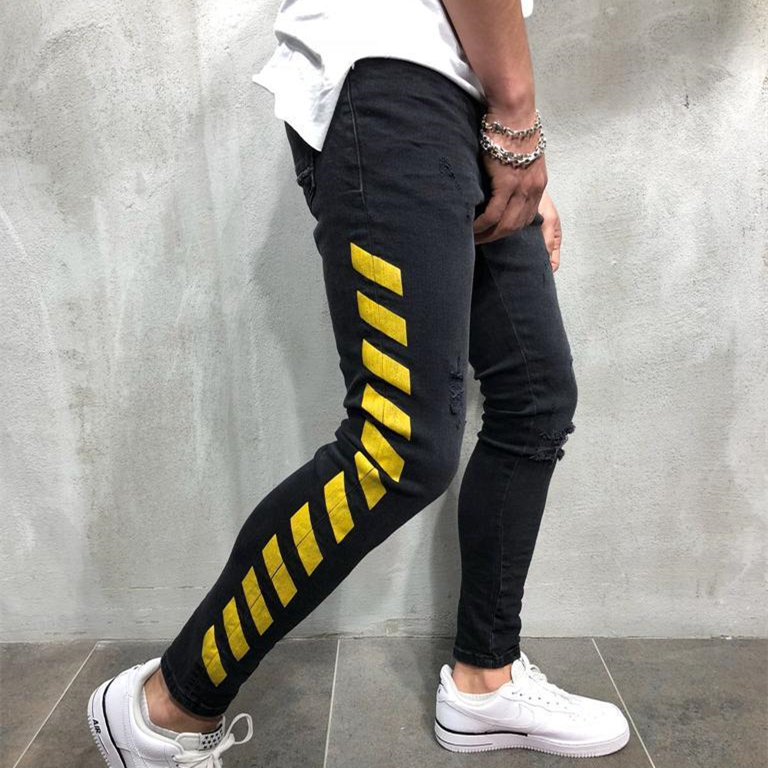 Men 39 s Streetwear Black Jeans Side Stripe Skinny Pencil Pants Man Hole Broken Hole Embroidery Homme Hip Hop Denim Trouser Fashion in Jeans from Men 39 s Clothing