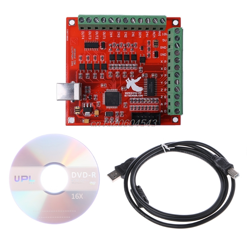 CNC USB MACH3 100Khz Breakout Board 4 Axis Interface Driver Motion Controller R08 Drop Ship freeshipping 0 to 10 vpwm spindle speed controller mach3 interface board