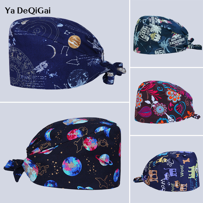 Unisex Breathable Cotton Adjustable Dentistry Pharmacy Hats Printed Medical Surgical Cap Pet Hospital Nurse Cap Beauty Salon Hat